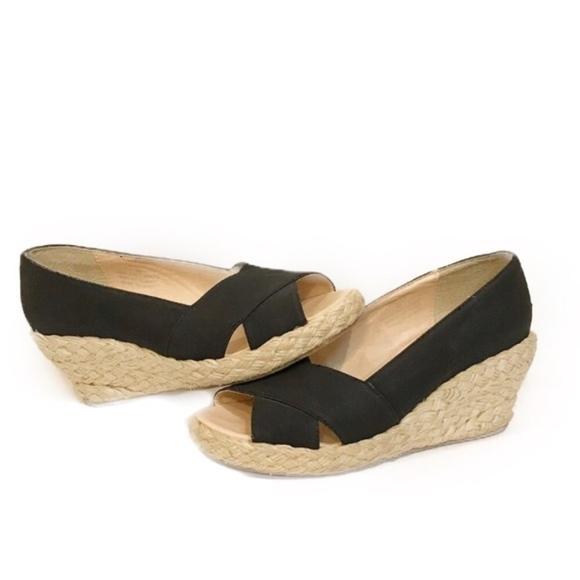 black espadrille wedges open toe